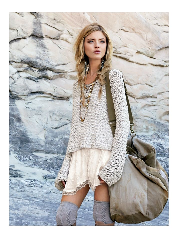 Tape Yarn Sweater. Slip Dress.