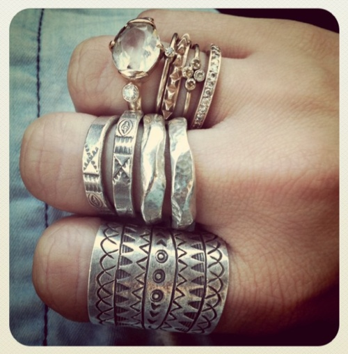silver raw gem rings